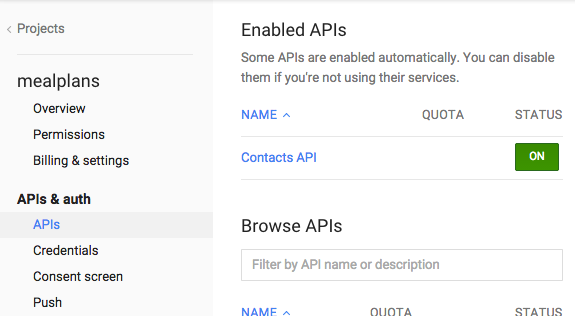 image of enabled Contacts API