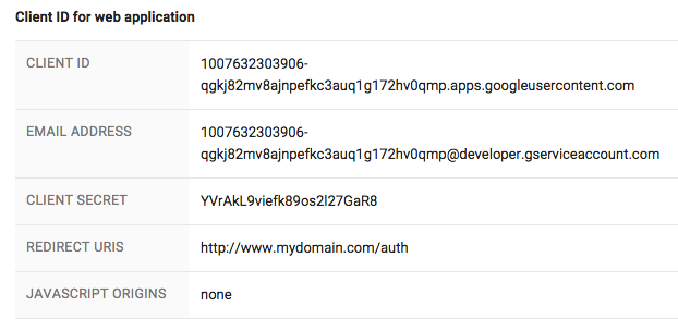 image of completed OAuth2.0 credentials