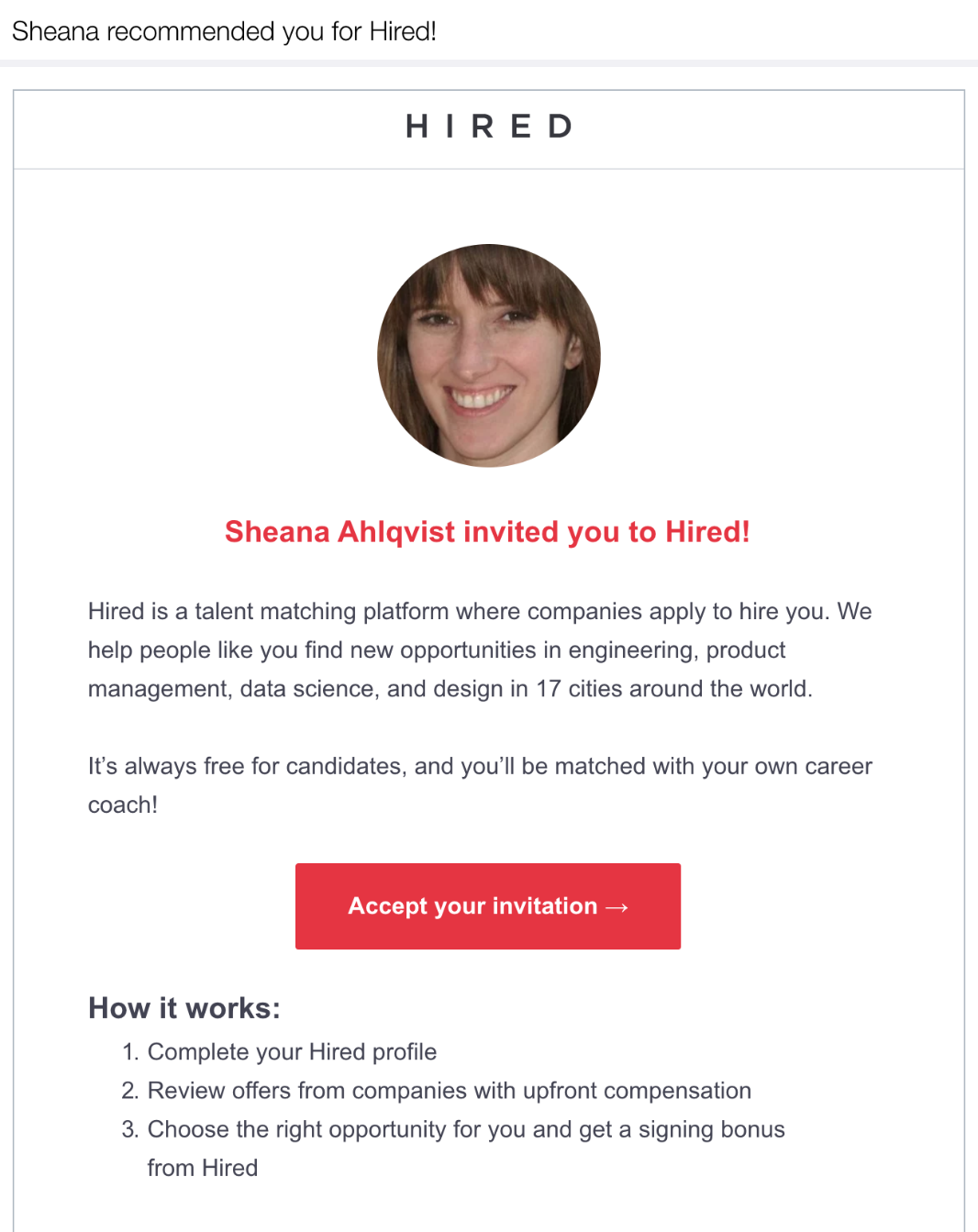 Hired's referral email example