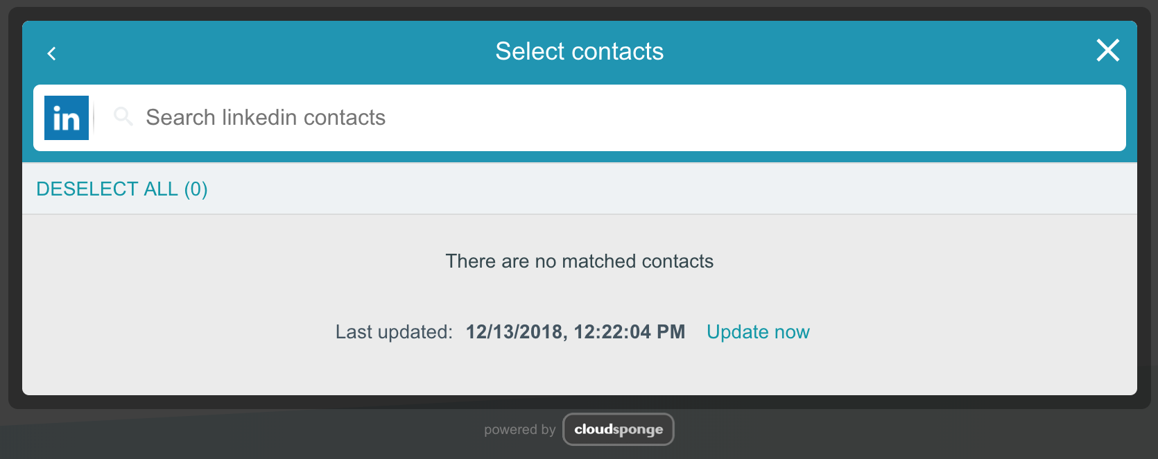 Widget with no LinkedIn contacts