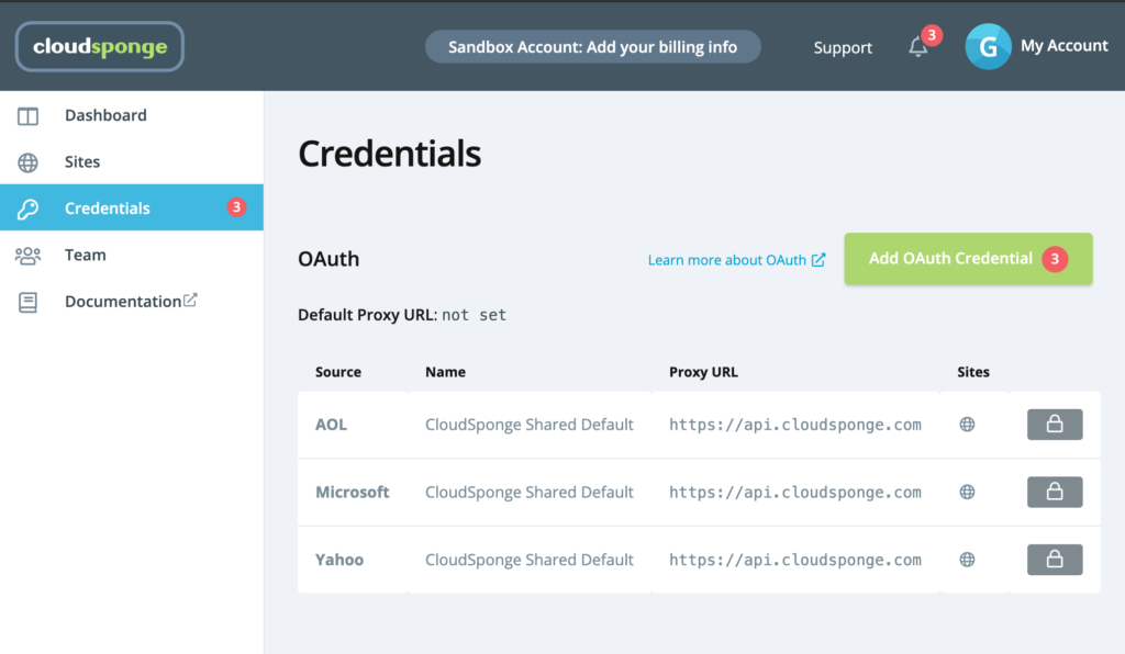 new OAuth credentials view