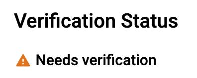 Google's needs verification message