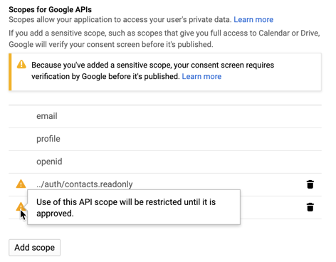 sensitive scopes included in Google's consent page