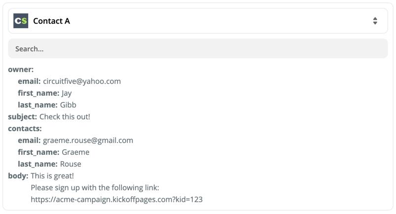 A screenshot of the Zap trigger's data format